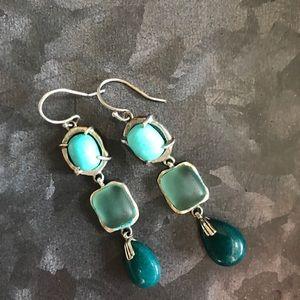 Silpada blue and green drop earrings